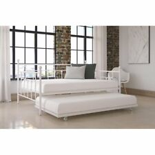 White Full Size Daybed w/ Twin Bed Underneath Metal Guest Room Kids Trundle Bed