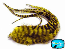 6 pieces - YELLOW Thick Long Grizzly Rooster Hair Extension Feathers