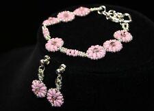 Flower Bracelet Earrings Set Handmade Swarovski Crystals