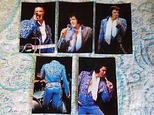 Elvis 8 Photo Set in Dark Blue Swirl Jumpsuit, Las Vegas 1973  & FREE Live CD!