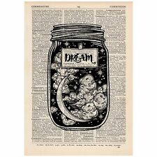 Dream Jar Dictionary Print OOAK, Alternative Art,Unique, Gift,