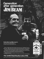Jim Beam Whiskey Fredric March Mike Connors Hollywood 1973 Vintage Print Ad