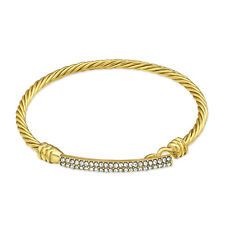 """NEW Gold Plated Double Row Crystal Bangle Bar Bracelet 6"""" Modern Sexy Fashion"""