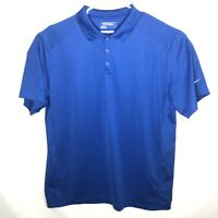 Men's Nike Golf Tour Performance Dri Fit Polo Solid Blue Size XXL 2XL   (E35)