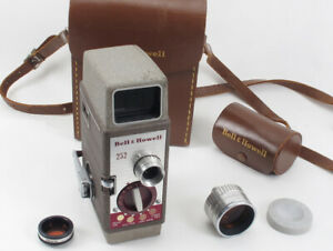 Vintage Bell & Howell 8mm Movie Camera Kit #252 + Matching 2x Telephoto Lens