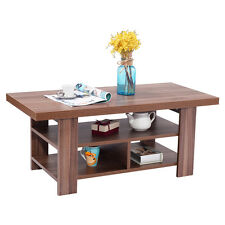 Wood Coffee Table Rectangle Modern Living Room Furniture w/ Storage Shelves New