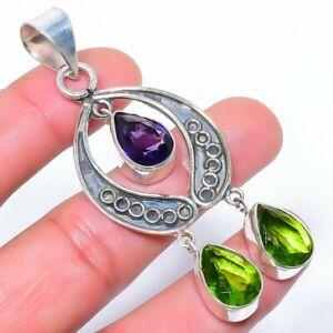 """Burmese Peridot & Amethyst 925 Sterling Silver Pendant Jewelry 2.9"""" T1659"""