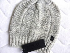 Genuine REPLAY Womens Femme Wool Knitted Light Grey Mottled Beanie Hat Toque NEW