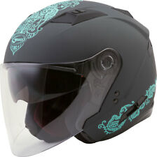 GMAX OF-77 ETERNAL Open-Face Motorcycle Helmet w/Sun Visor (Matte Grey/Teal)