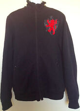 DIRTY ENGLISH JUICY COUTURE MEN Black Sweater Jacket Full Zip Lion Large