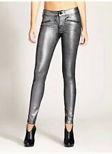 GUESS Women's Moto Zip Skinny Jeans in Pewter Foil – Silver sz 31