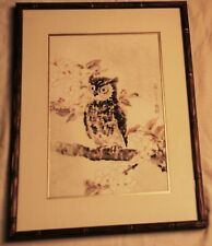 "Eiichi Kotozuka(1906-1979) Japanese Wood Block Print, ""Owl and Cherry Blossoms"""