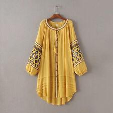 Vintage Gypsy Bohemian Peasant Hippie Embroidery Boho Tunic Dress Loose Cardigan