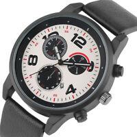 Sport Men's Women's Analog Quartz Wrist Watch Army Military Style Leather Band