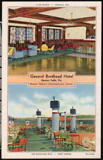 BEAVER FALLS PA General Brodhead Hotel Lounge & Hurricane Deck Vtg Postcard Old