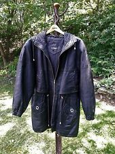 """3/4 LENGTH """"COMINT"""" WOMEN'S BLACK LEATHER CINCH HOODED JACKET/COAT-SIZE M"""