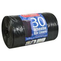 30x Standard Wheelie Bin Liners Strong Refuse Sacks Thick Big Rubbish Bags 240L