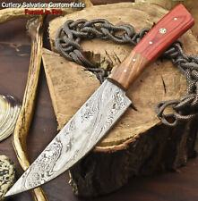Hand Made Damascus Steel Blade Chef Kitchen Full Tang Knife   Hard Wood