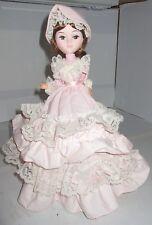 "Vintage Bradley Paper Mache Doll Big Eye Girl 11"" Happy Birthday Pi Musical Spin"