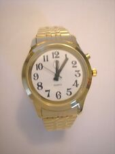 Ladies Deluxe Talking Wrist Watch Gold Tone w/Deluxe Stretch Band for Low Vision
