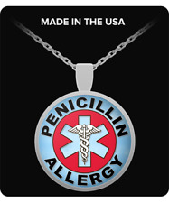 """Penicillin Allergy Medical Alert Silver Plated 1"""" Round Pendant Necklace"""