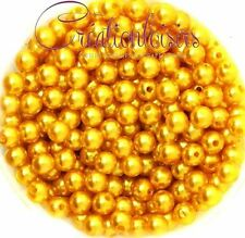 Lot de 100 Perles ronde nacré acrylique jaune-orange 6 mm