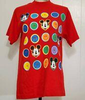 Vintage 90's Mickey Mouse & Smiley Face Red T-shirt Men's Sz LG Disney Shirt Goo
