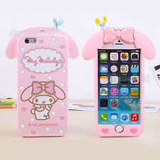 Cute Pink Melody Rabbit Silicone Case Cover for iPhone 4 5 6 6S 7 Plus & Samsung