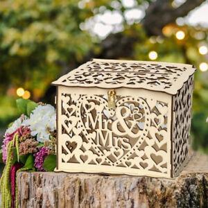 Wooden Wedding Card Box Wishing Well Gift Money Box with Lock Birthday Party DIY