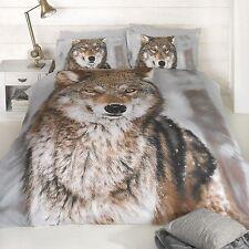 WOLF PRINT DESIGN KINGSIZE DUVET COVER NEW KING SIZE ANIMAL BEDDING