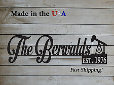 """12"""" Name Sign with Established Date-Oil Rig Theme,  Wedding Gift-S1238"""