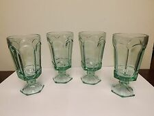 4 FOSTORIA VIRGINIA TEAL GREEN STEMWARE ICE TEA GOBLET GLASSES