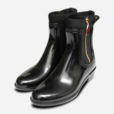 Designer Tommy Hilfiger Gold Zip Wellies in Black