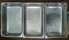 """Lot of 7 ~ Full Size Perforated Stainless Steel Steam Pan Rectangle 4"""" Deep"""