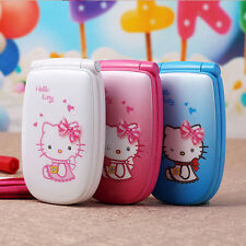 2018 Hello Kitty Flip Cute Small Mini Mobile Cell Phone Best For Kids Girls Lady