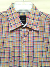 Men's Tailorbyrd  Size XL   Pink Blue Yellow Plaid Blue Cuffs LS Shirt EUC