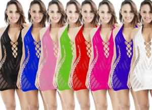 Sexy/Sissy Bodycon Mesh Mini Dress Fishnet Sheer Clubwear See Through Nightwear