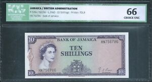 JAMAICA 10/- P51Be 1960 ND(1964) QEII ICG 66 EPQ Choice Unc