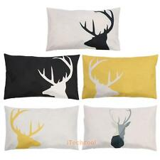 Deer Pattern Thick Cotton Blended Pillow Cover 30 x 50cm Home Sofa Waist Pillow
