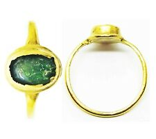 13th - 14th century A.D. Medieval Ladies Gold & Emerald Finger Ring Size 5 3/4