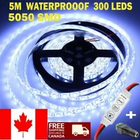 12V 5M 5050 300 LED Bright cool white Waterproof led Strip Light with adapter CA