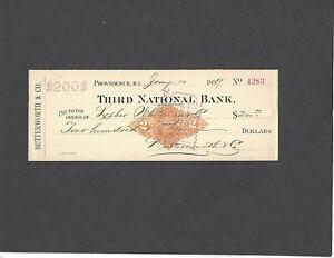1899 THIRD NATIONAL BANK,PROVIDENCE,RI BANK CHECK RN-X7-BUTTERWORTH & CO