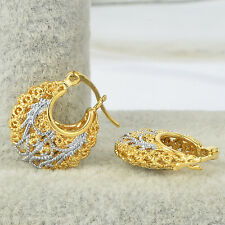 vintage womens real gold filled carved hoop earrings Filigree cute earings