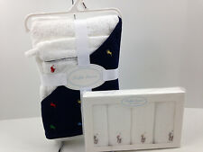 NWT Ralph Lauren Hooded Baby Bath Towel Mitt & Wash Cloth Set Blue Free Ship $90