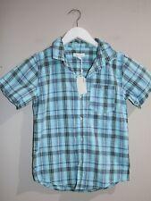 Pumpkin Patch Boys Gingham Plaid Blue Shirt Size 10 BNWT #BOY1