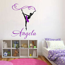 Custom Personalised Name Ballerina Wall Stickers Decal Nursery Decor Art Mural