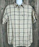 The North Face Mens Button Down Shirt Sz L Beige Plaid Modal Blend Short Sleeve
