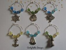 Set of 6 Cute Multi-Color Nautical Wine Charms
