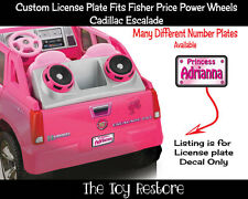Decal fits Fisher Price Power Wheels Corvette License Number Plate Princess