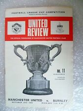 1969 League Cup United Review MANCHESTER UNITED v BURNLEY, 20th Oct